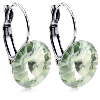 Earring Setting 14mm Rhodium Plated Swarovski Rivoli