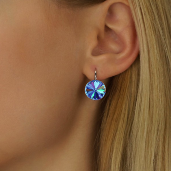 Earring Setting 12mm Rhodium Plated Swarovski Rivoli