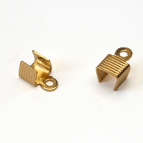 Fold Over Cord End 4mm Gold Plated