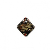 Glass Pendant 17mm Square Black Gold