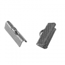 Claw Crimp end clasp rhodium plated 20mm