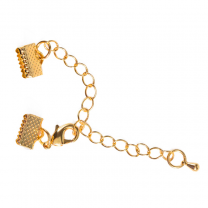 Claw Crimp end clasp gold plated 10mm incl. extender chain