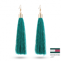 Turquoise Nylon Tassel Earrrings 110mm Gold plated