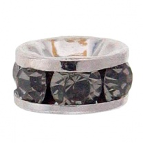 SWAROVSKI ELEMENTS Roundelle 4.5mm Silver Plated Black Diamond
