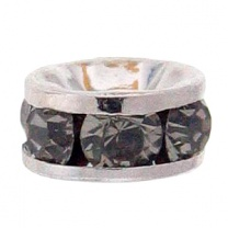 SWAROVSKI ELEMENTS Roundelle 6mm Silver Plated Black Diamond