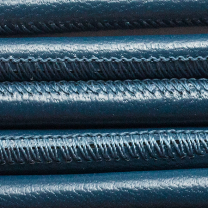 Round Nappa Leather 6mm Stitched Blue