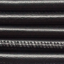 Round Nappa Leather 6mm Stitched Black