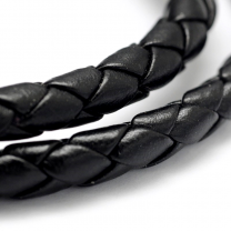 Braided Imitation Leather Cord 5mm black
