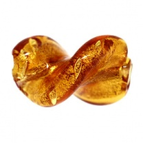 Murano Bead 20mm Leave Drilled Topaz Gold Foiled