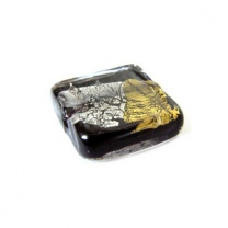 Murano Bead 20mm Square Black Gold-Silver Foiled