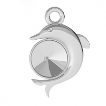 Dolphin pendant 15mm sterling silver for Swarovski Rivoli 6mm