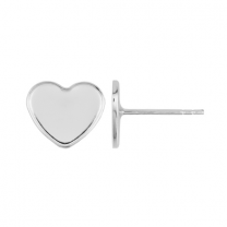 Ear Post with Setting 6mm Sterling Silver Swarovski Heart 2808