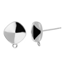 Ear Post with ring 10mm Sterling Silver Swarovski 4470