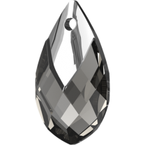 SWAROVSKI 6565 18mm Pear Pendant Black Diamond Light Chrome