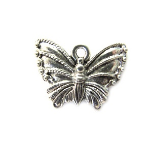 Charm Butterfly 19mm Antique Silver