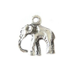Charm 14mm Elefant Antique Silver Plated