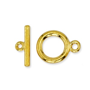 Toggle Clasp 14mm One Strand Gold