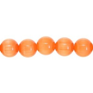 Cats Eye Bead round 6mm Orange