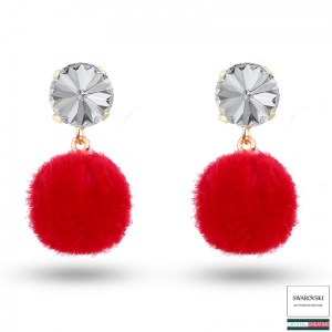 Red Pom Pom Stud Earrings Gold plated made with SWAROVSKI Crystal