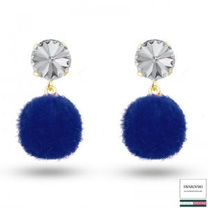 Blue Pom Pom Stud Earrings Gold plated made with SWAROVSKI Crystal