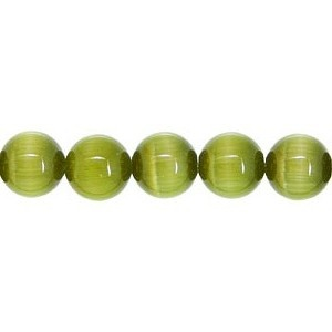 Cats Eye Bead round 4mm Light Olivine