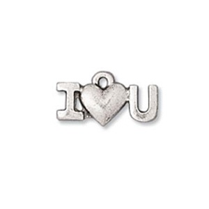 Charm 9mm I Love You Antique Silver Plated