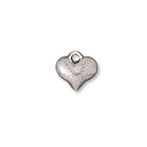 Charm 10mm Heart Antique Silver Plated