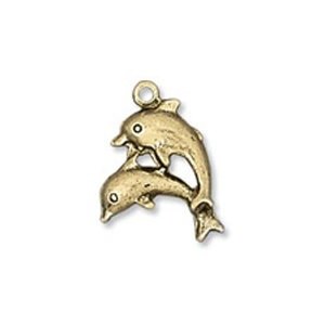 Charm 19mm Dolphins Antique Gold Plated Plated