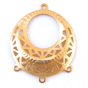 Filigree Pendant 29mm with 3 Rings Gold Plated