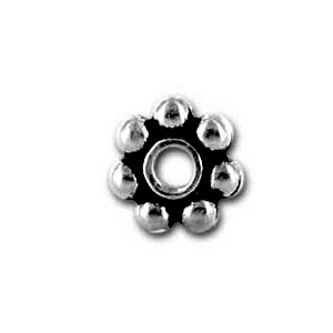 Daisy Spacer Bead 5mm Antique Silver Plated
