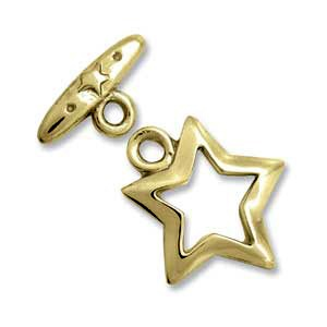 Toggle Clasp Star 17mm One Strand Gold Plated