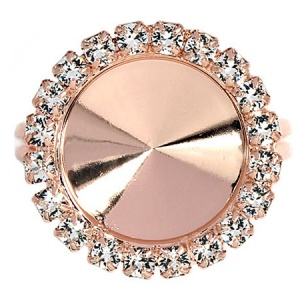 Ring Strass 12mm Rose Gold Verstellbar Swarovski Rivoli 1122