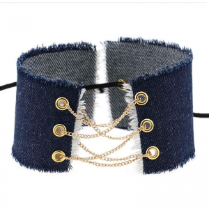 Denim Choker to lace up 31cm Denim Navy Blue Gold