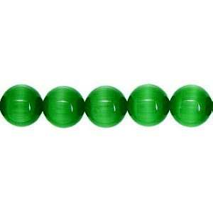 Cats Eye Bead round 4mm Dark Green