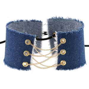 Denim Choker to lace up 31cm Denim Navy Blue Light Gold