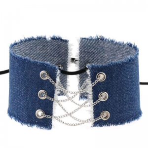 Denim Choker to lace up 31cm Denim Navy Blue Light silver