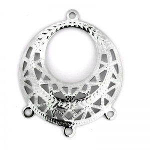 Filigree Pendant 29mm with 3 Ring Bright