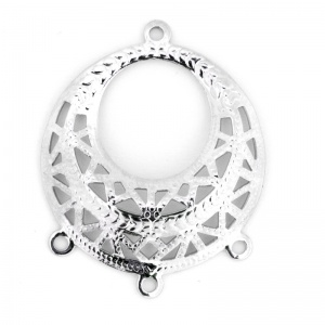 Filigree Pendant 29mm with 3 Rings Silver Plated