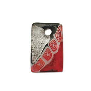 Glass Pendant Red 40mm Silver Lined