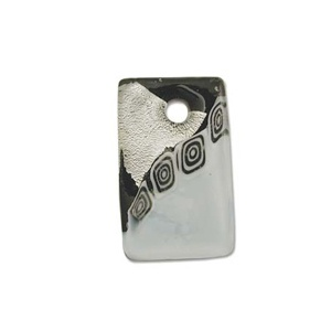 Glass Pendant Black 40mm Silver Lined