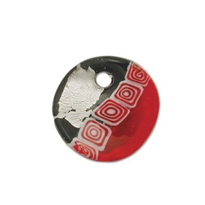 Glass Pendant Red 38mm Silver Lined