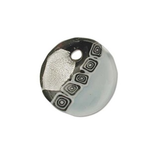 Glass Pendant Black 38mm Silver Lined