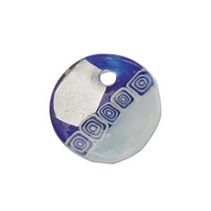 Glass Pendant Blue 38mm Silver Lined