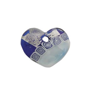 Glass Pendant Blue 34mm Silver Lined