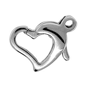 Lobster Clasp Heart 10mm Bright