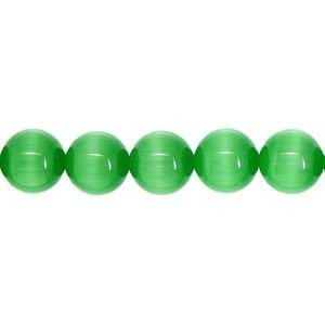 Cats Eye Bead round 8mm Dark Green