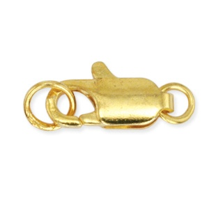 Lobster Clasp Flat with Ring 12mm Gold Plated