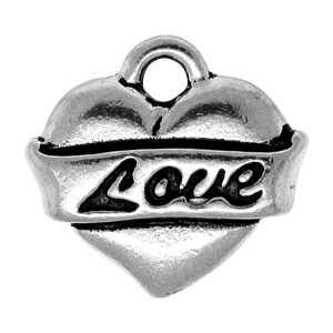 Tierracast Pendant 14mm Love Heart Antique Silver
