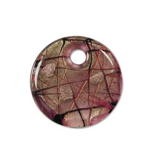 Glass Pendant round 40mm Purple