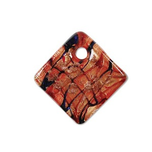 Glass Pendant 40mm Red Quadrat
